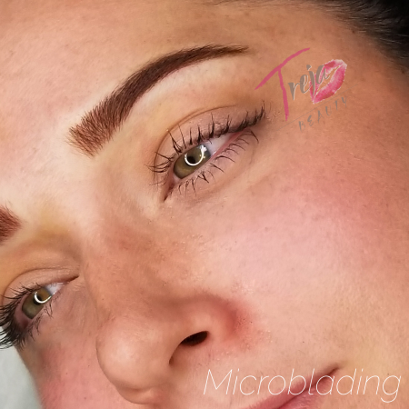microblading with shading on a naturally full brow