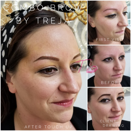 Before and after images of microblading and shading on a naturally very sparse brow