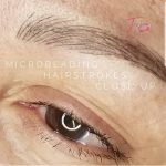 super close up of microblading hairstrokes by Treja Beauty